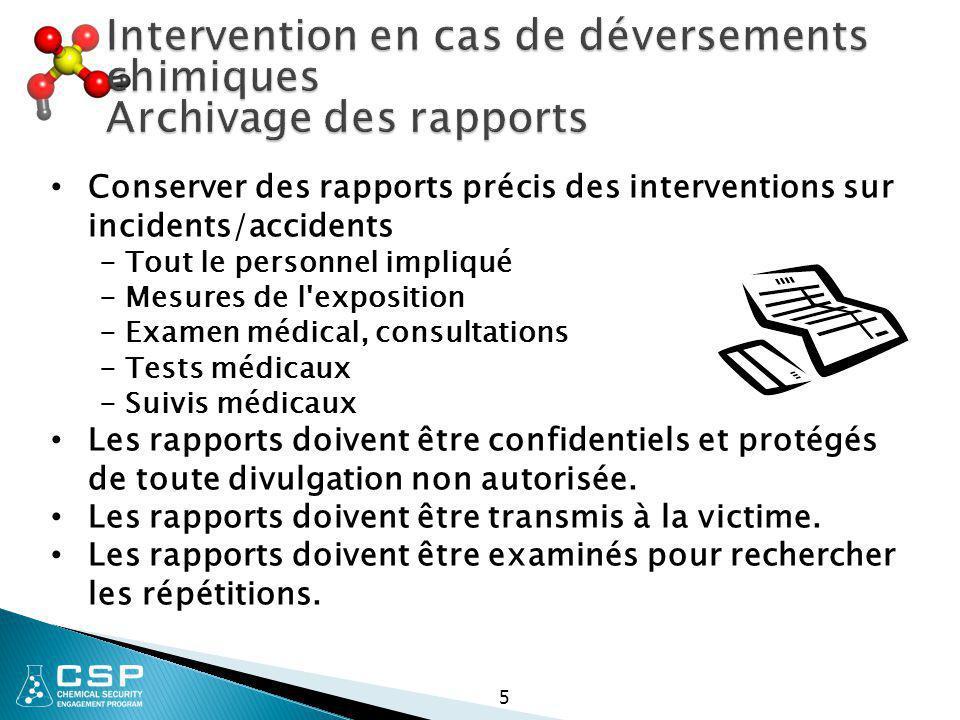 Intervention en cas de déversements chimiques Archivage des rapports