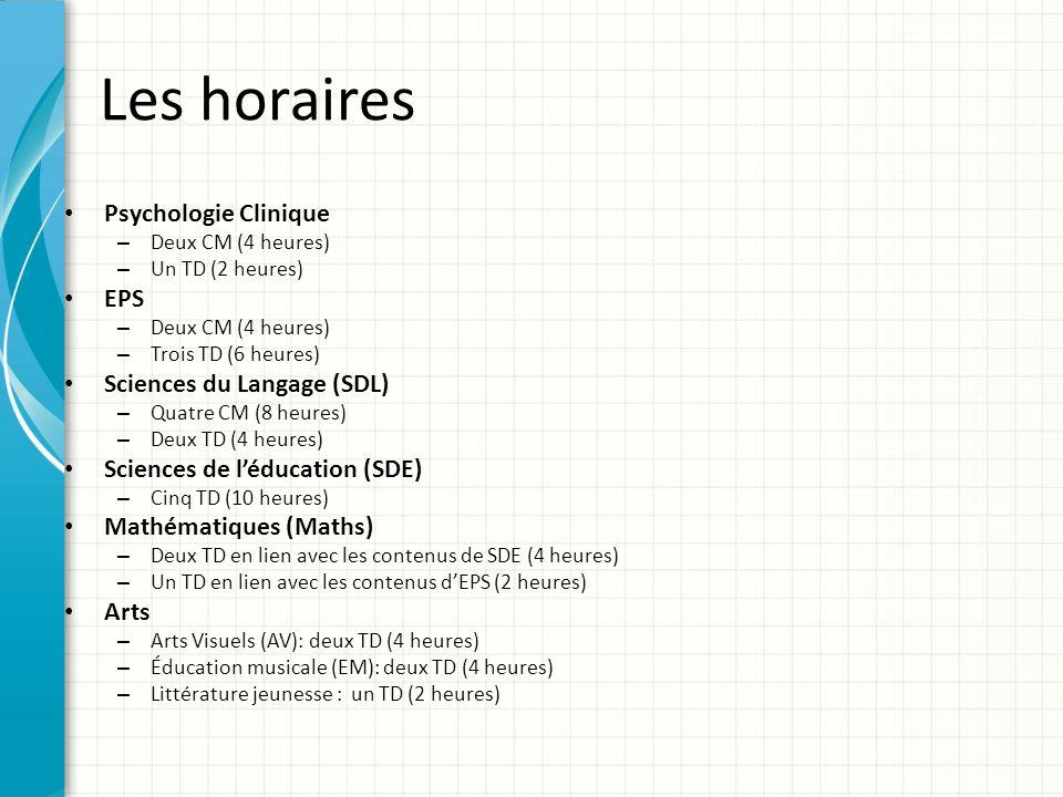 Les horaires Psychologie Clinique EPS Sciences du Langage (SDL)
