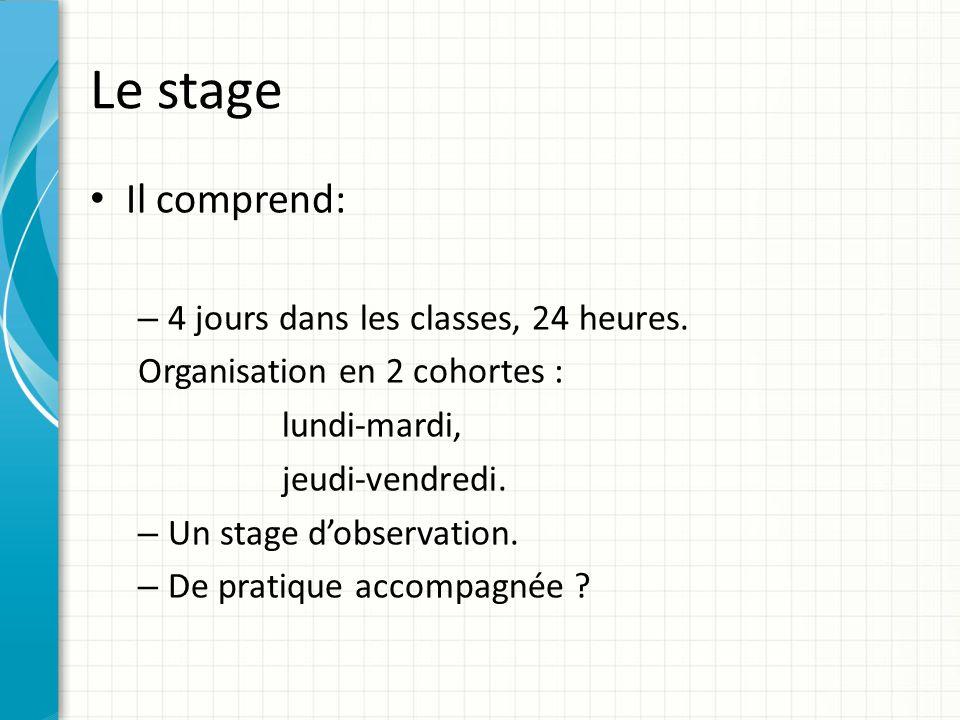 Le stage Il comprend: 4 jours dans les classes, 24 heures.