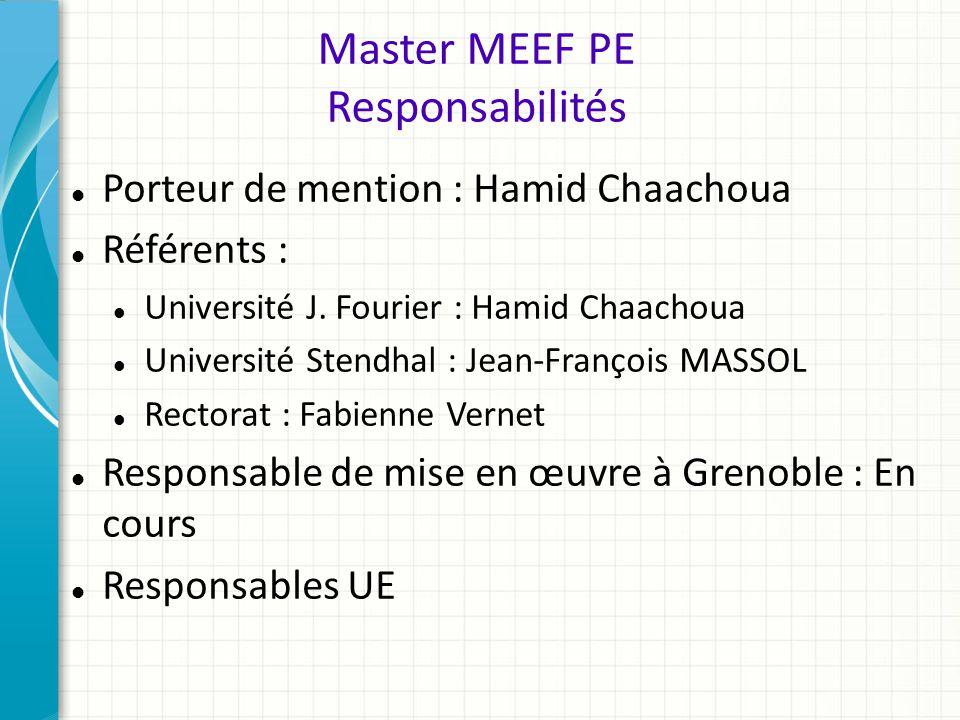 Master MEEF PE Responsabilités