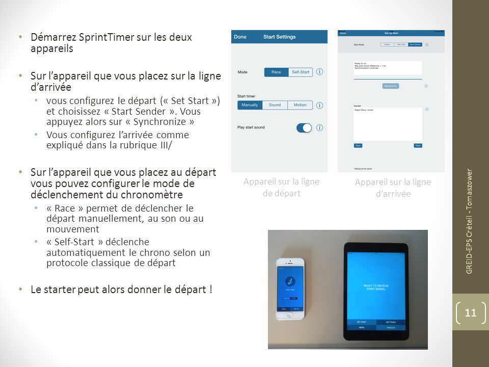 Démarrez SprintTimer sur les deux appareils
