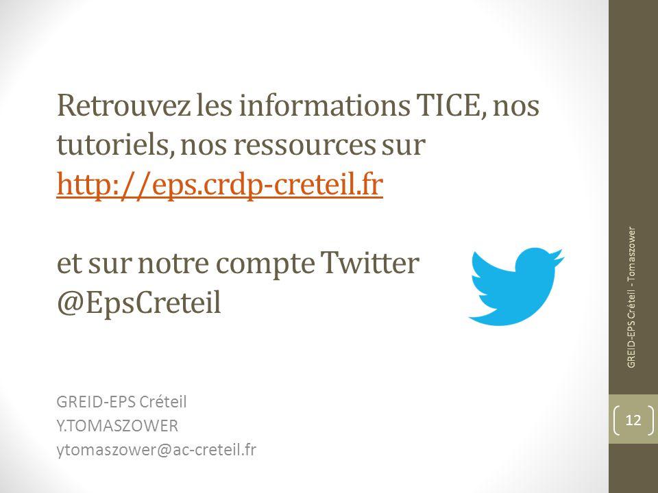 GREID-EPS Créteil Y.TOMASZOWER ytomaszower@ac-creteil.fr