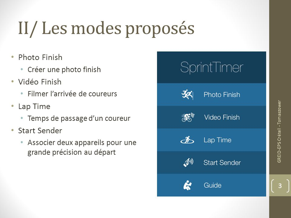 II/ Les modes proposés Photo Finish Vidéo Finish Lap Time Start Sender