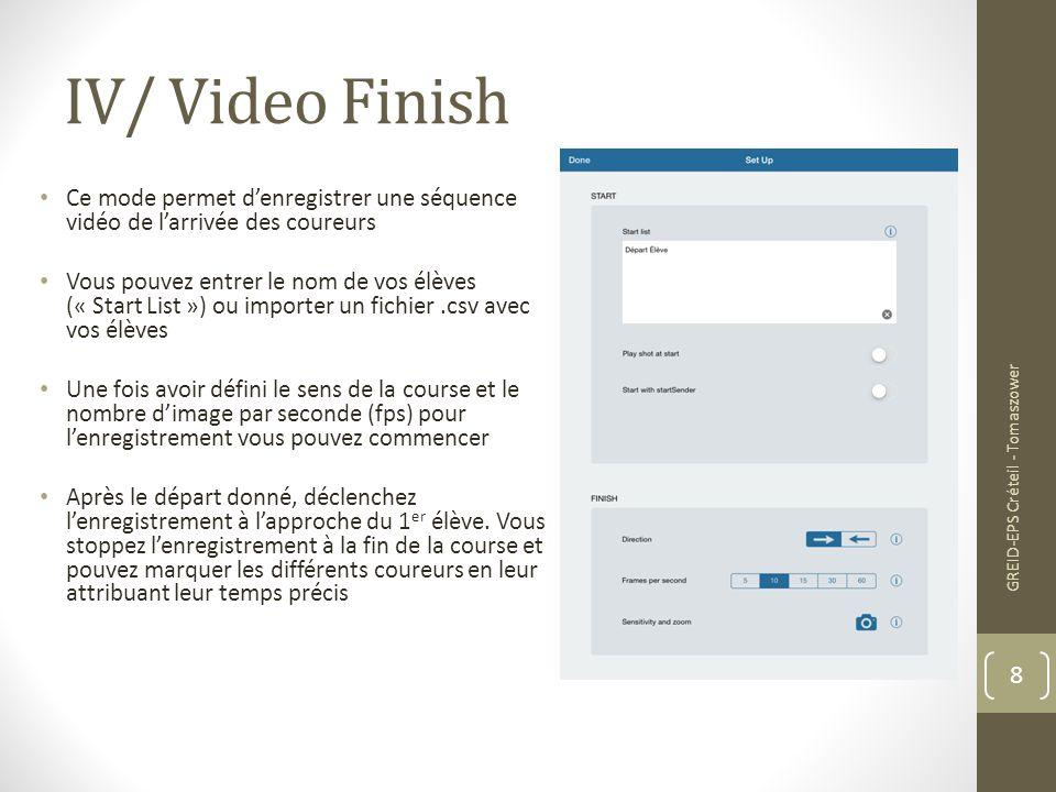 IV/ Video Finish Ce mode permet d'enregistrer une séquence vidéo de l'arrivée des coureurs.