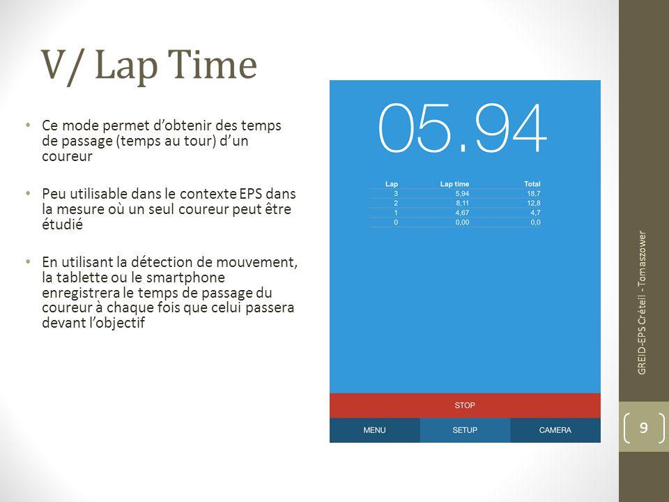 V/ Lap Time Ce mode permet d'obtenir des temps de passage (temps au tour) d'un coureur.
