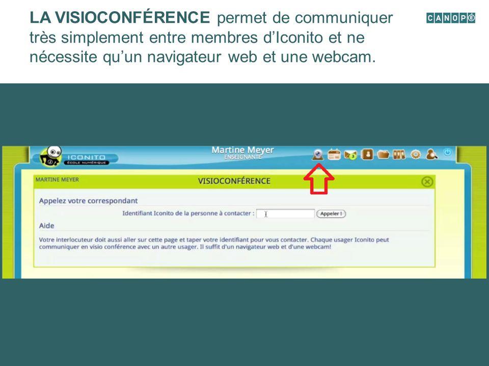 LA VISIOCONFÉRENCE permet de communiquer très simplement entre membres d'Iconito et ne nécessite qu'un navigateur web et une webcam.