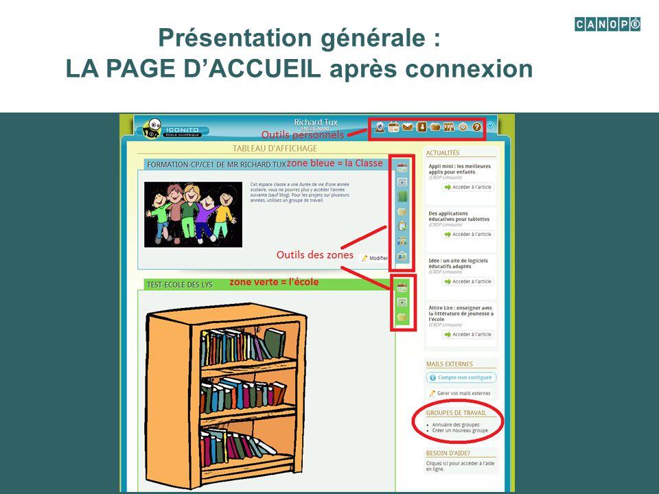 Présentation générale : LA PAGE D'ACCUEIL après connexion