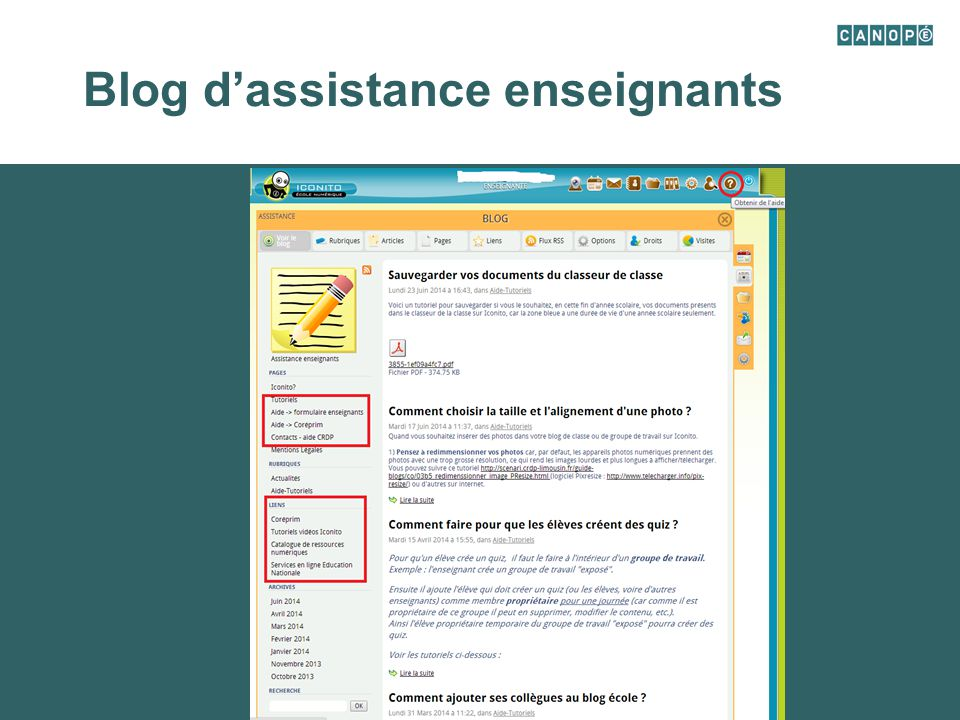Blog d'assistance enseignants