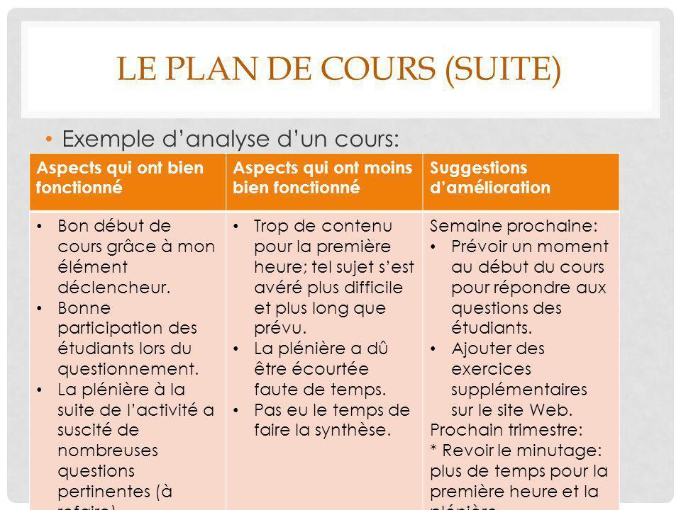 Le plan de cours (suite)