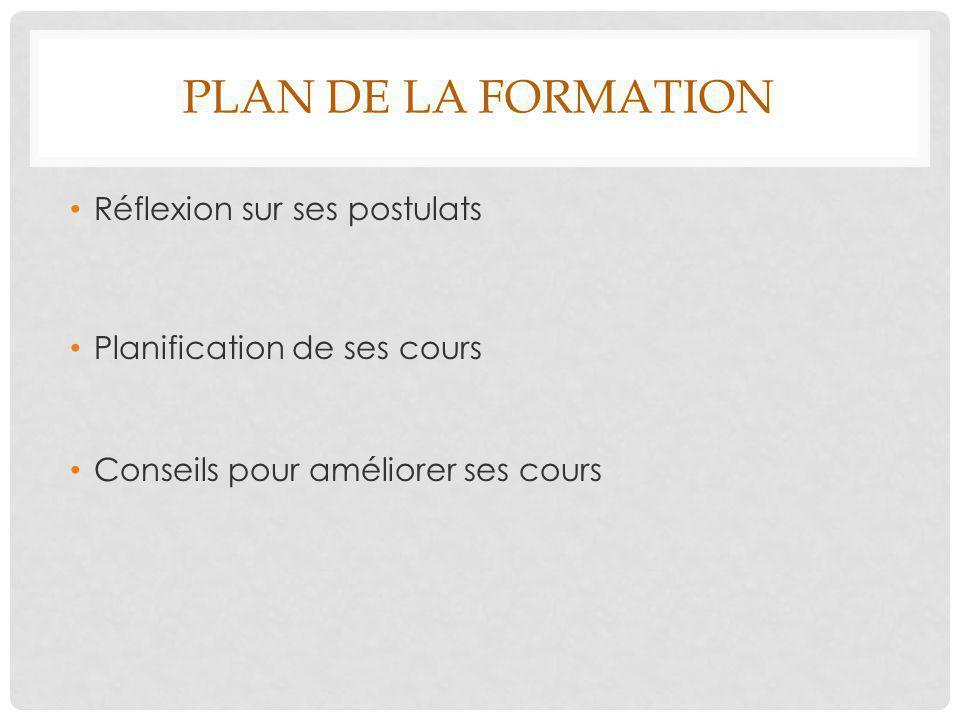 Plan de la formation Réflexion sur ses postulats