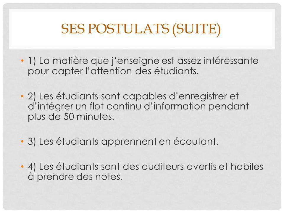 Ses postulats (suite) 1) La matière que j'enseigne est assez intéressante pour capter l'attention des étudiants.