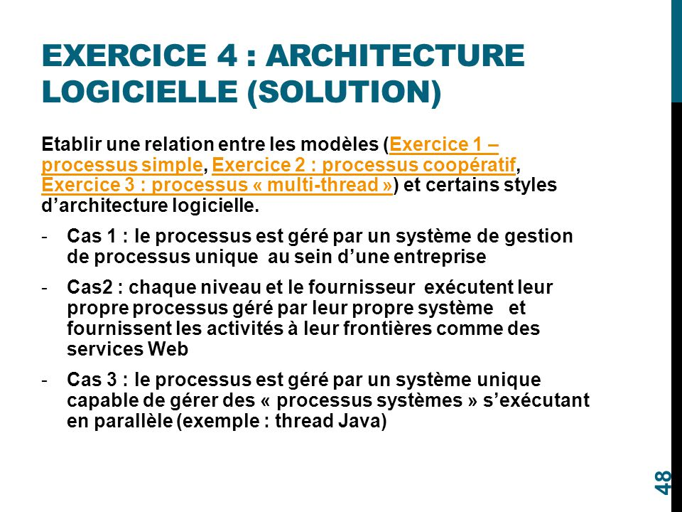 Exercice 4 : Architecture logicielle (solution)