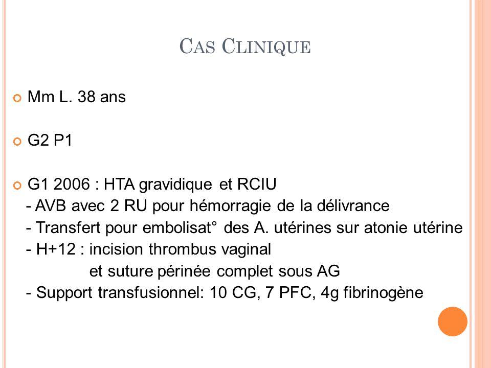 Cas Clinique Mm L. 38 ans G2 P1 G1 2006 : HTA gravidique et RCIU