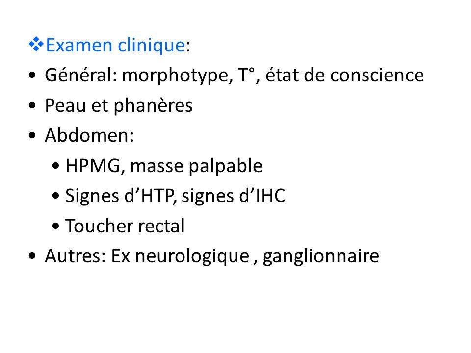 Examen clinique: Général: morphotype, T°, état de conscience. Peau et phanères. Abdomen: HPMG, masse palpable.
