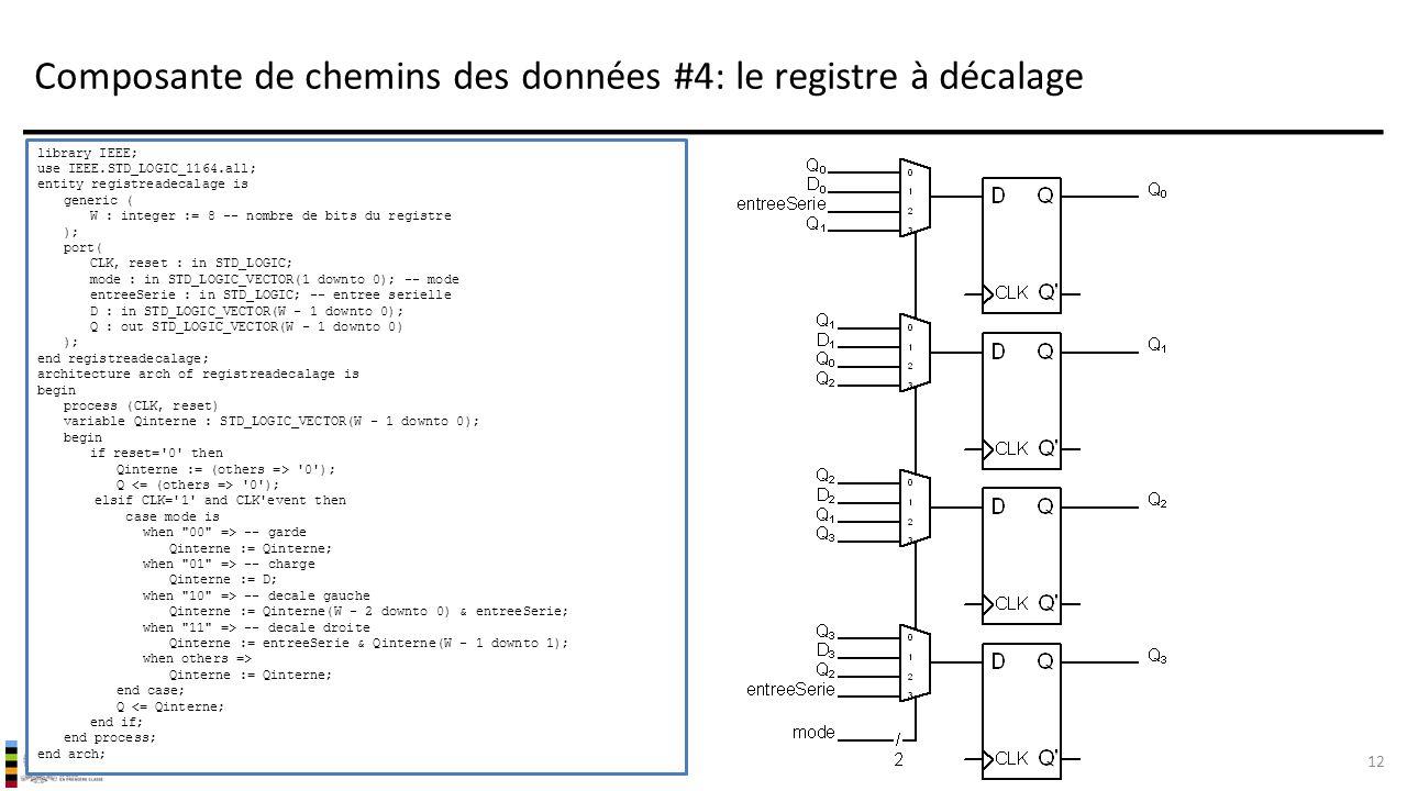 Composante de chemins des données #4: le registre à décalage