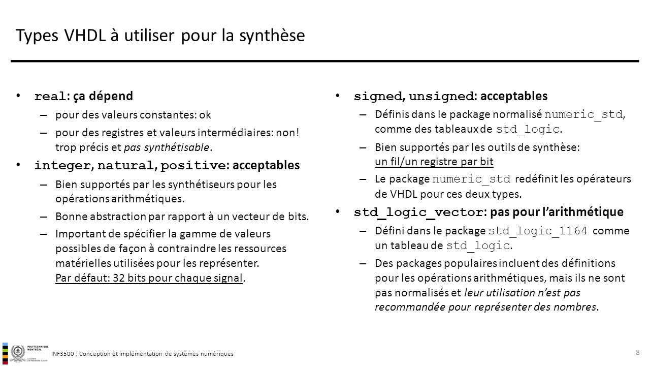 Types VHDL à utiliser pour la synthèse