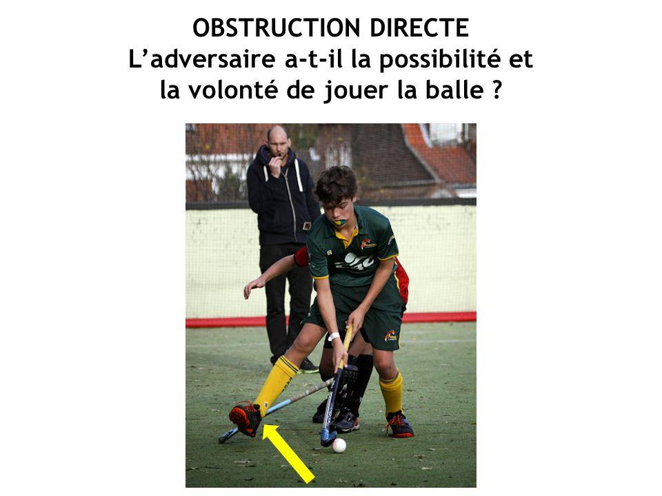 OBSTRUCTION DIRECTE L'adversaire a-t-il la possibilité et la volonté de jouer la balle