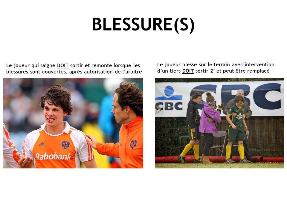 BLESSURE(S) Le joueur qui saigne DOIT sortir et remonte lorsque les blessures sont couvertes, après autorisation de l'arbitre.