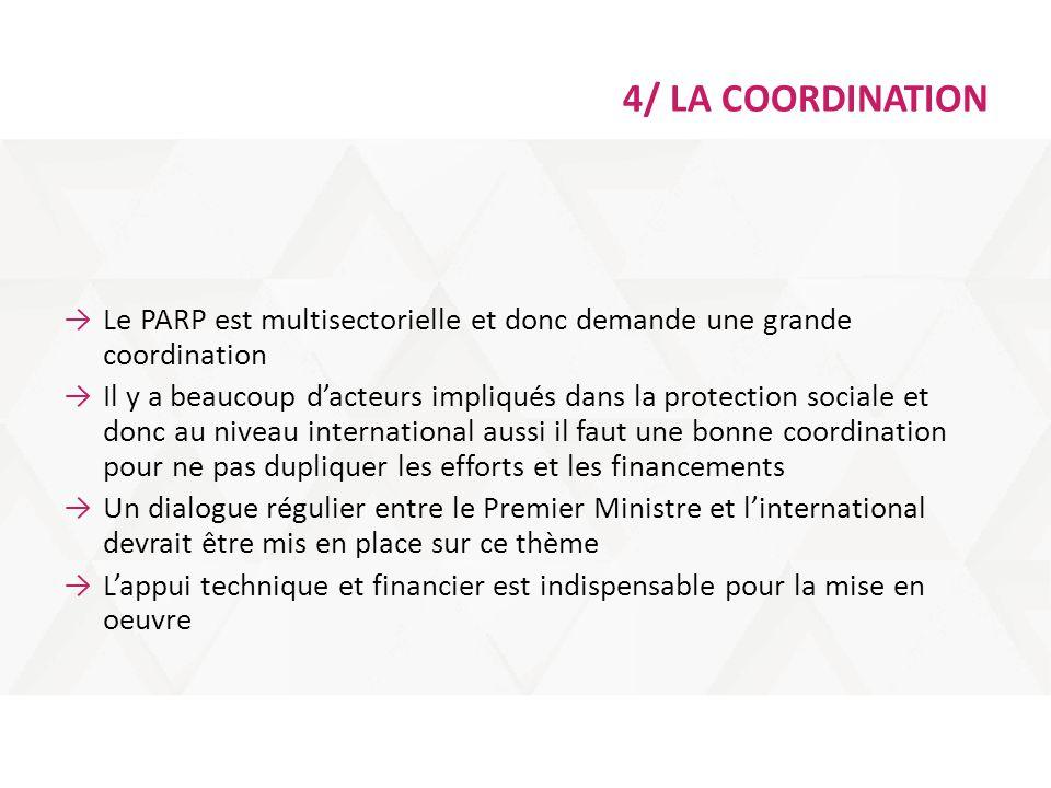4/ LA COORDINATION Le PARP est multisectorielle et donc demande une grande coordination.