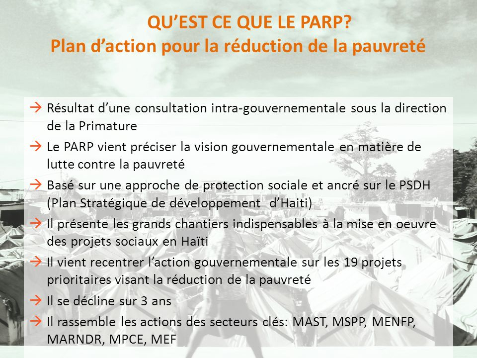 Plan d'action pour la réduction de la pauvreté