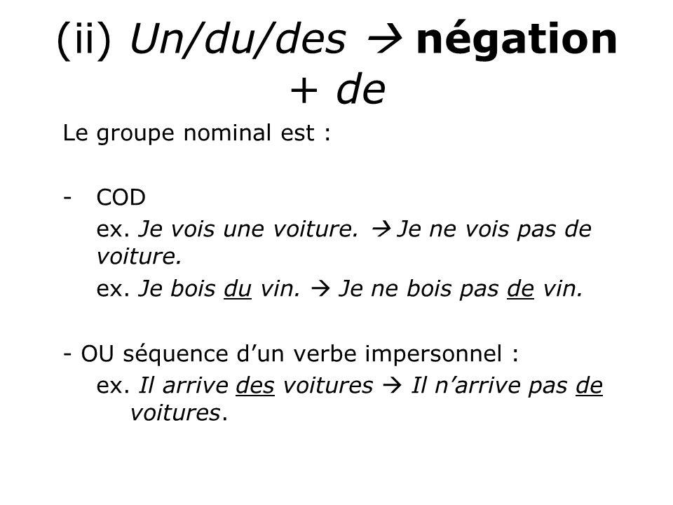 (ii) Un/du/des  négation + de