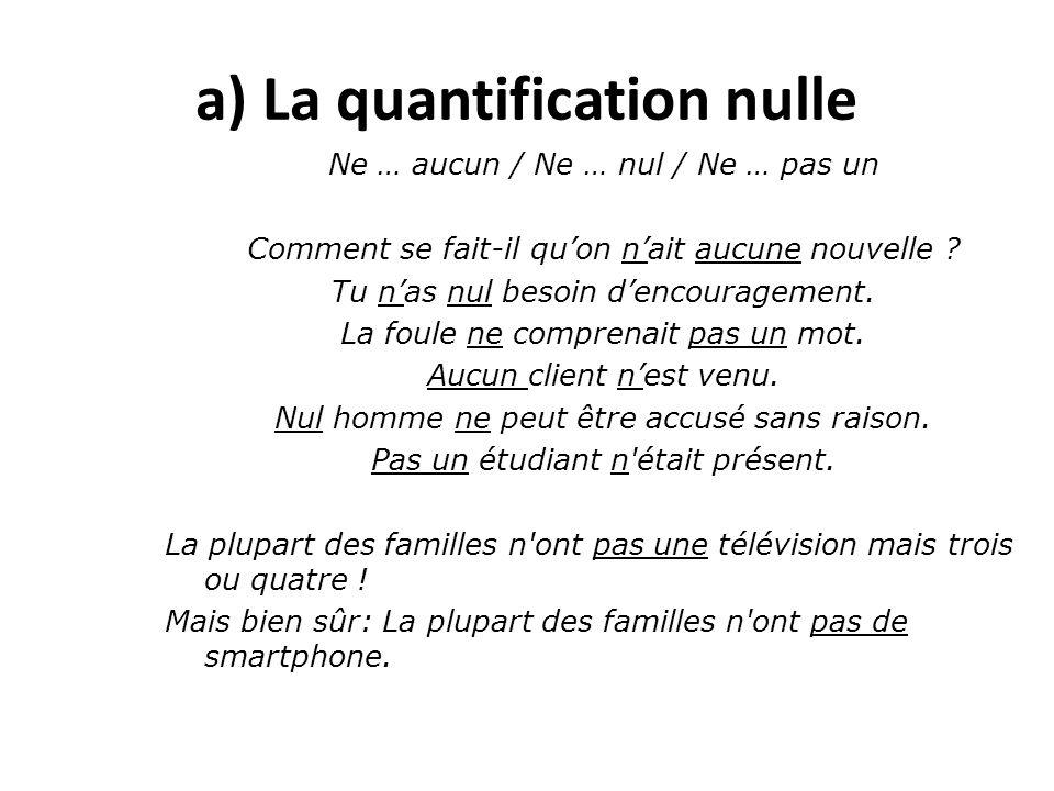 a) La quantification nulle