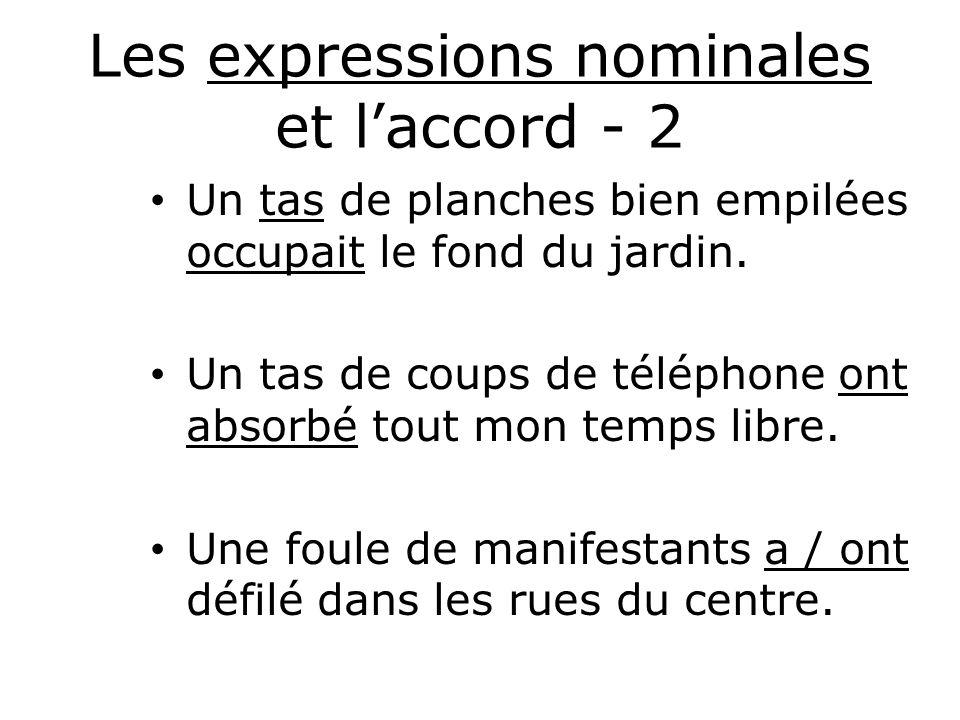 Les expressions nominales et l'accord - 2