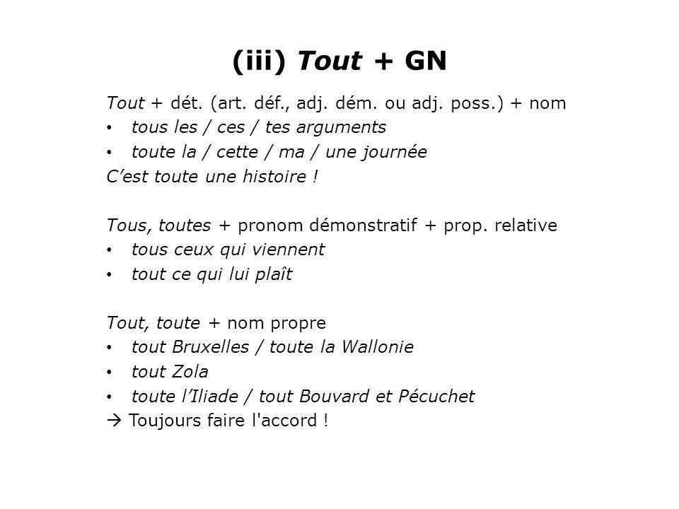 (iii) Tout + GN Tout + dét. (art. déf., adj. dém. ou adj. poss.) + nom