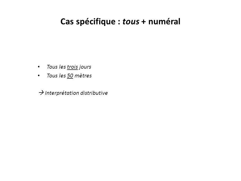 Cas spécifique : tous + numéral