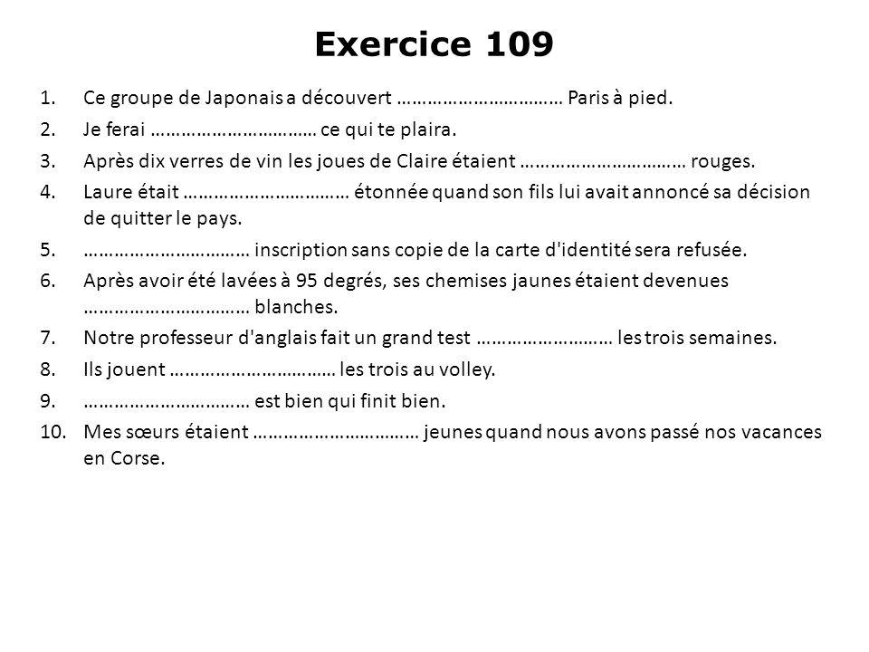 Exercice 109 Ce groupe de Japonais a découvert …………………………… Paris à pied. Je ferai …………………………… ce qui te plaira.