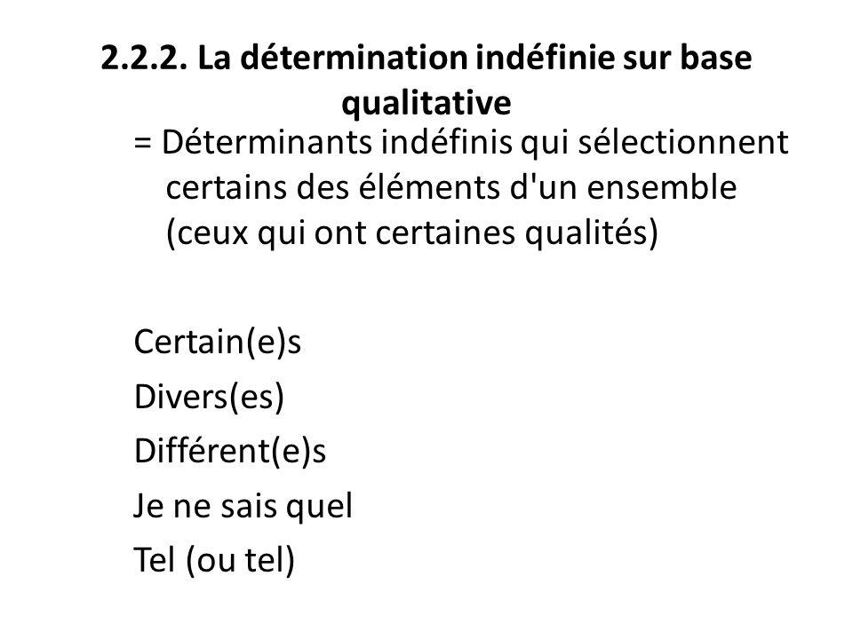 2.2.2. La détermination indéfinie sur base qualitative