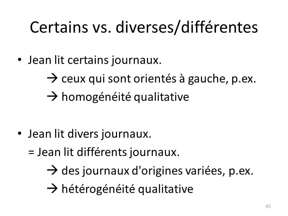 Certains vs. diverses/différentes