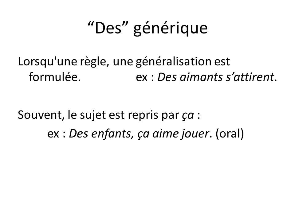 Des générique