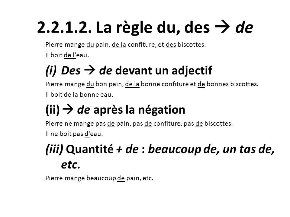 2.2.1.2. La règle du, des  de Des  de devant un adjectif