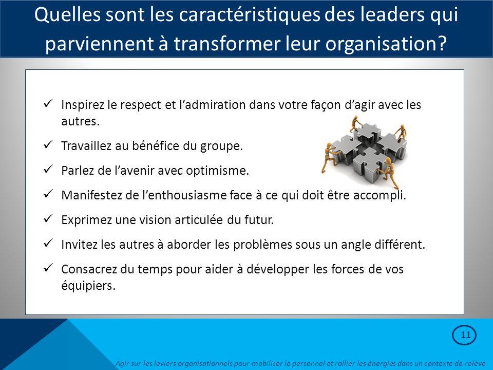 Quelles sont les caractéristiques des leaders qui parviennent à transformer leur organisation