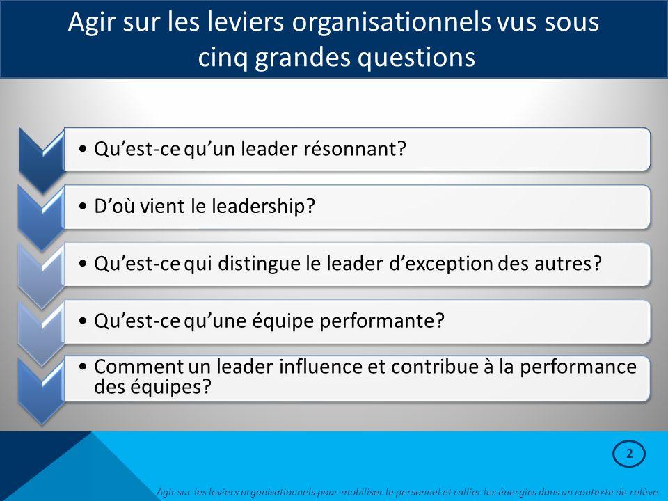 Agir sur les leviers organisationnels vus sous cinq grandes questions