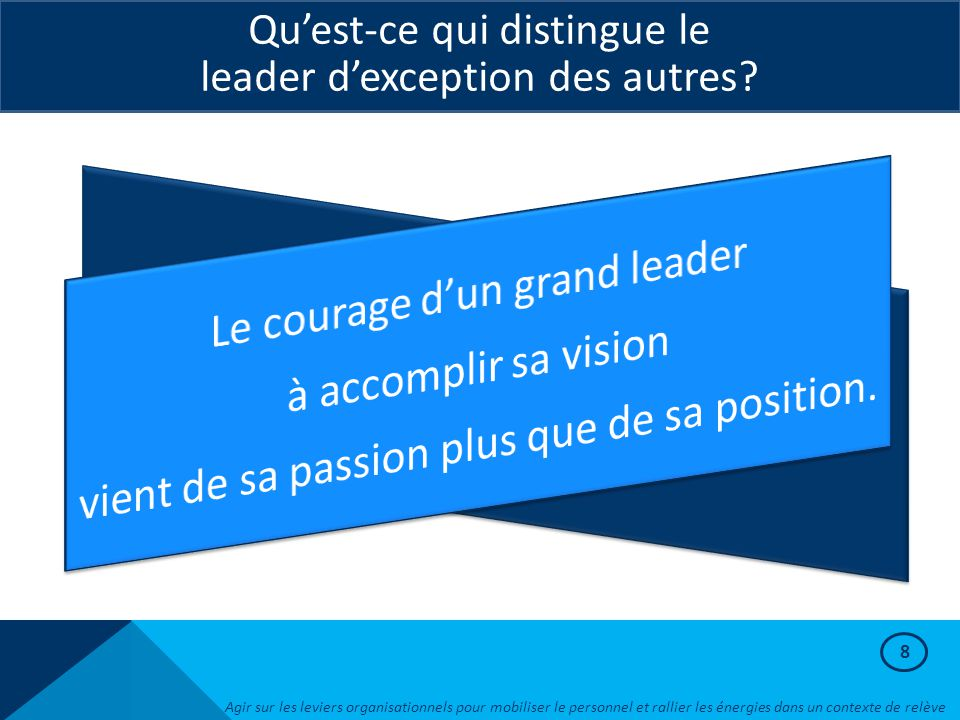 Le courage d'un grand leader à accomplir sa vision