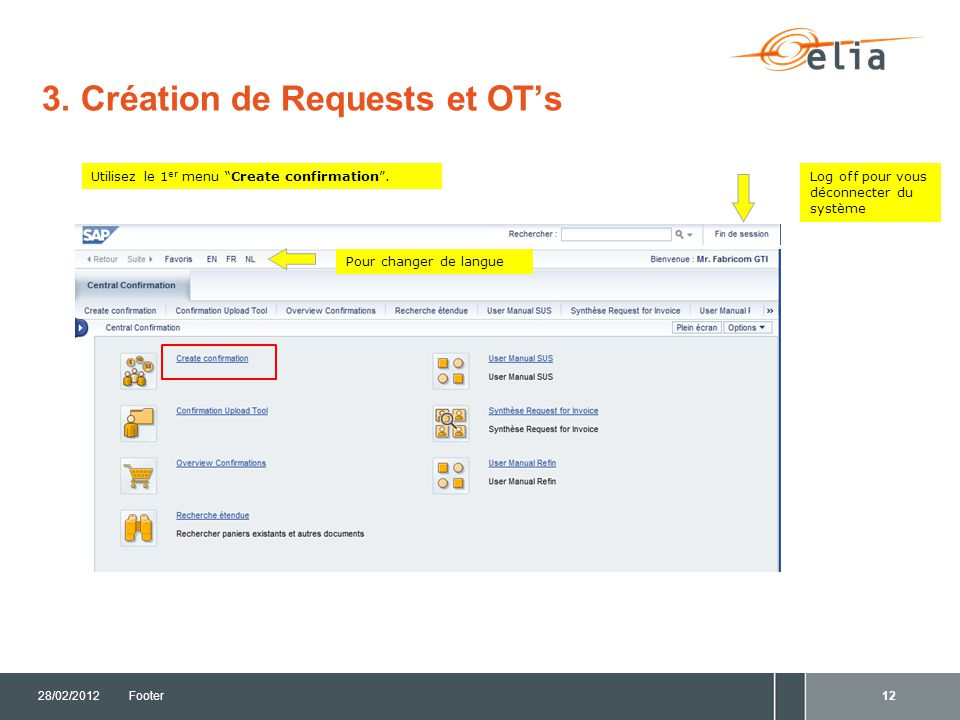 3. Création de Requests et OT's