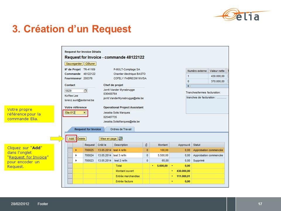 3. Création d'un Request Votre propre référence pour la commande Elia.