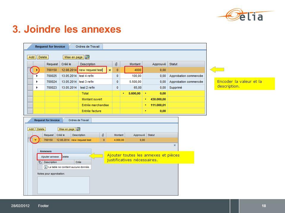 3. Joindre les annexes Encoder la valeur et la description.