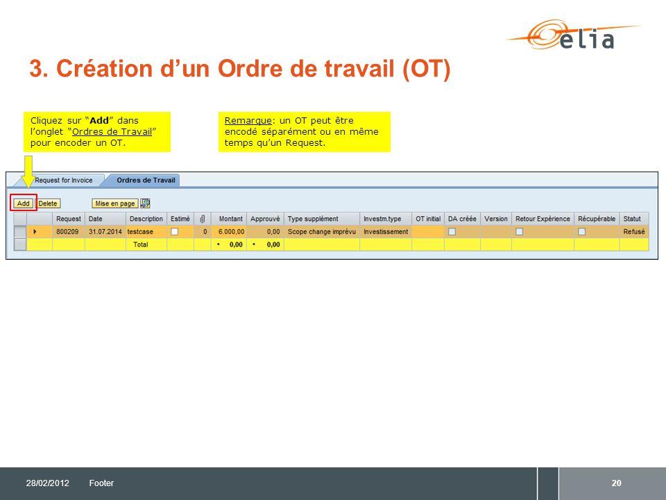 3. Création d'un Ordre de travail (OT)