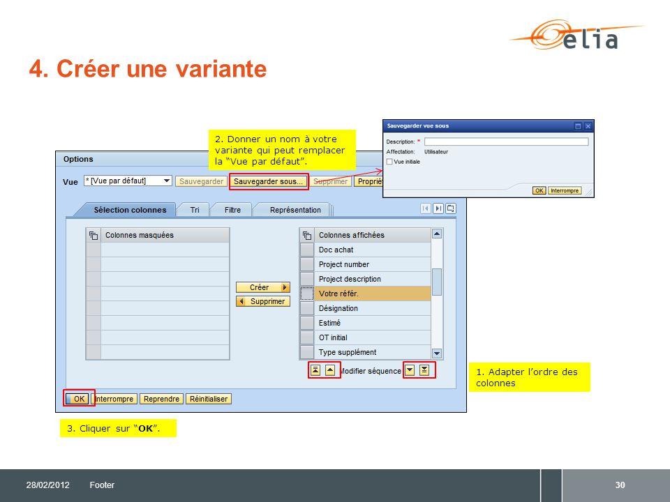 4. Créer une variante 2. Donner un nom à votre variante qui peut remplacer la Vue par défaut . 1. Adapter l'ordre des colonnes.