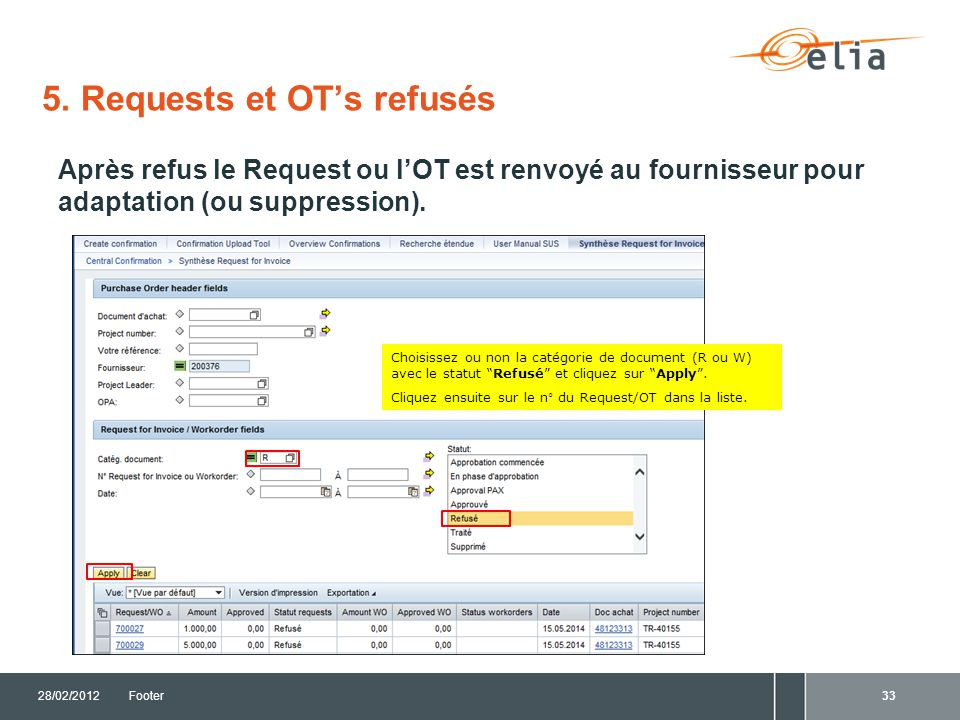 5. Requests et OT's refusés