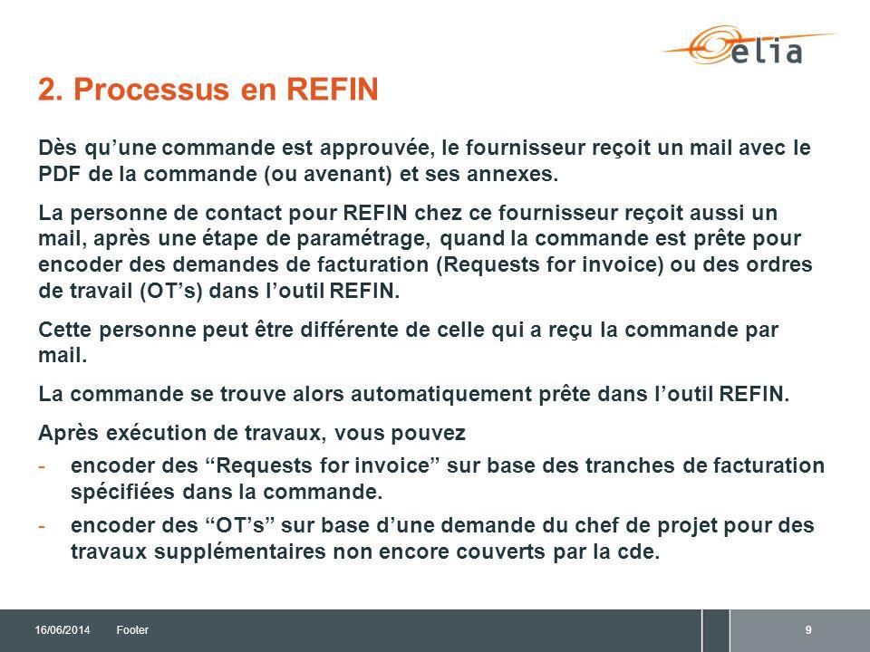 2. Processus en REFIN Dès qu'une commande est approuvée, le fournisseur reçoit un mail avec le PDF de la commande (ou avenant) et ses annexes.