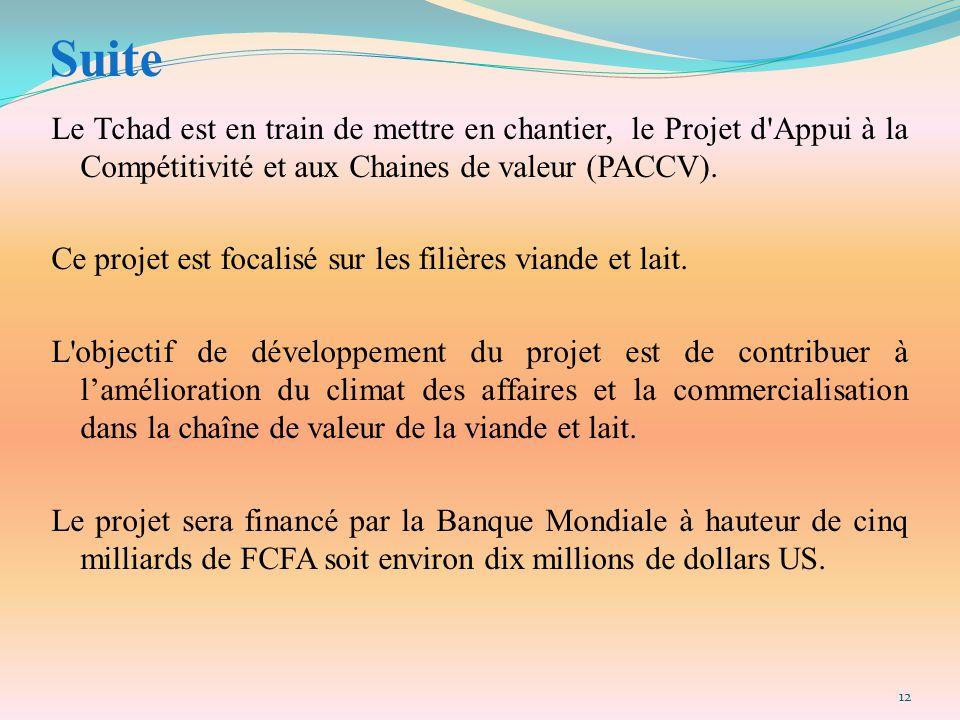 Suite Le Tchad est en train de mettre en chantier, le Projet d Appui à la Compétitivité et aux Chaines de valeur (PACCV).
