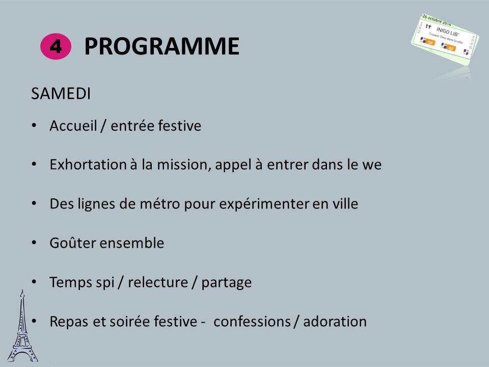 Programme 4 SAMEDI Accueil / entrée festive