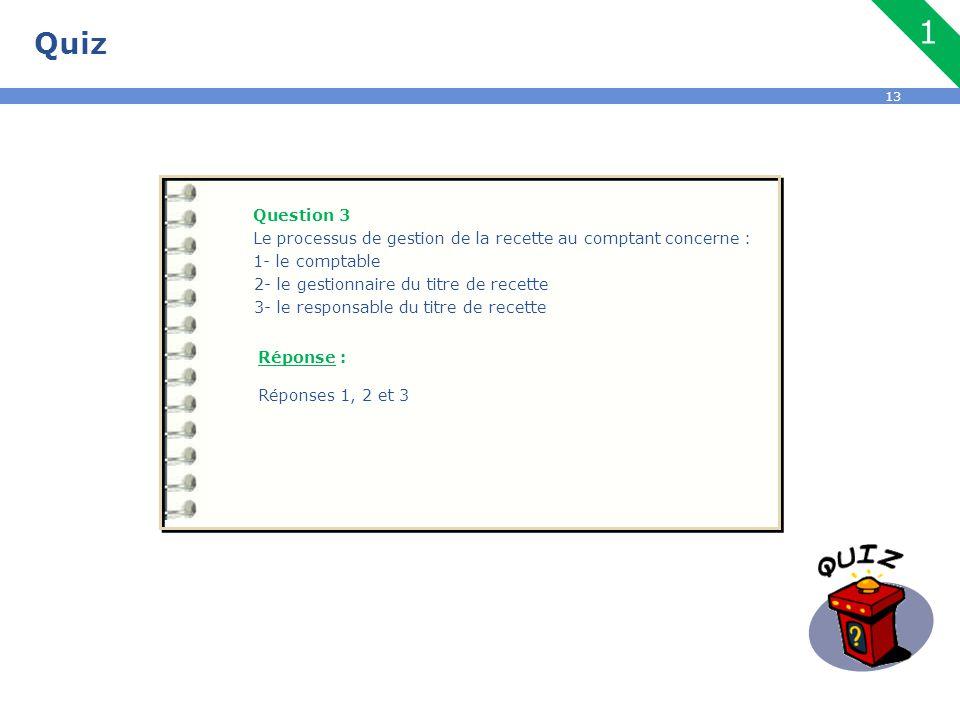 Quiz 1. Question 3. Le processus de gestion de la recette au comptant concerne : 1- le comptable.