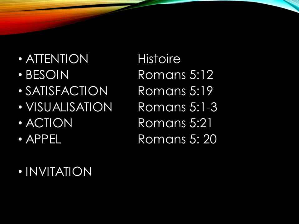 ATTENTION Histoire BESOIN Romans 5:12. SATISFACTION Romans 5:19. VISUALISATION Romans 5:1-3.