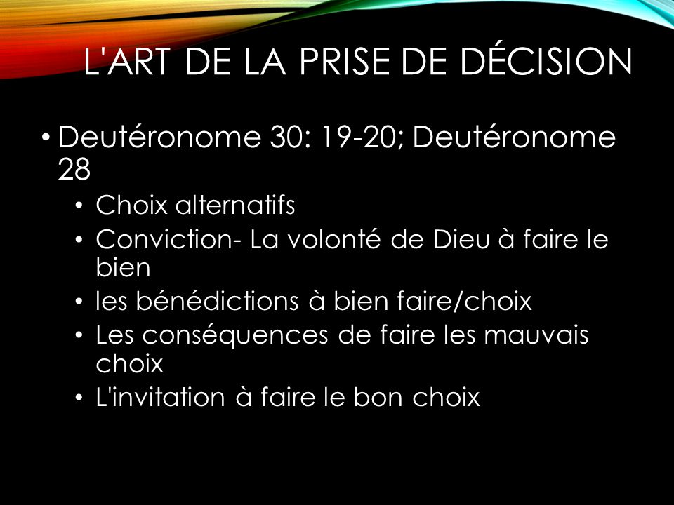 L ART DE LA PRISE DE DÉCISION