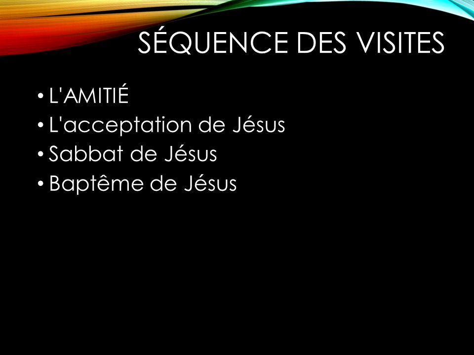 SÉQUENCE DES VISITES L AMITIÉ L acceptation de Jésus Sabbat de Jésus